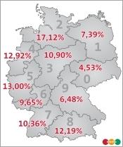 erento Wohnmobilstudie 2009 - Nachfrage von Wohnmobilen nach Region